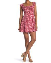Lush Ruffle Trim Square Neck Mini Dress - Red