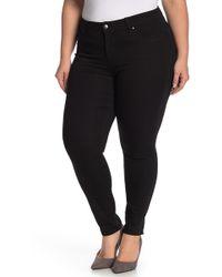 Workshop Rolled Hem Skinny Jeans (plus Size) - Black