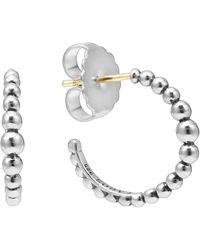 Lagos Sterling Silver Graduated Circle Hoop Earrings - Metallic