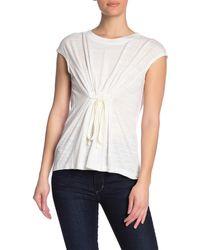Max Studio Textured Tie Front Cap Sleeve Top - White