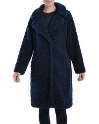 Lucky Brand Faux Shearling Long Coat - Blue