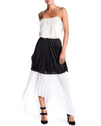 BCBGMAXAZRIA | Micro Wet Satin Weave Pleated Skirt | Lyst