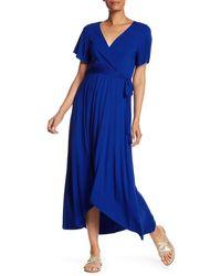West Kei Flutter Sleeve High/low Wrap Dress - Blue