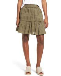 Caslon - (r) Smocked Stretch Cotton Mini Skirt (regular & Petite) - Lyst