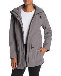 Kenneth Cole Hooded Soft Shell High/low Jacket - Grey