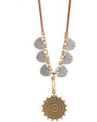 Lucky Brand Engraved Pendant Necklace - Metallic