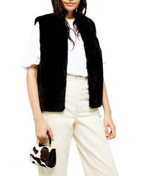 TOPSHOP Faux Fur Gilet - Black