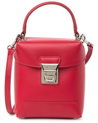 Lancaster Top Handle Small Leather Crossbody Bag - Red