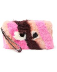Anya Hindmarch Genuine Shearling Furry Eyes Clutch - Red