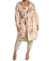 Philosophy Apparel Faux Suede Trench Coat - Natural