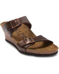 Birkenstock Dorothy Leather Wedge Sandal - Discontinued - Brown