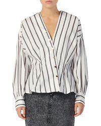 Sandro Naelle Stripe Asymmetrical Snap Placket Cotton Shirt - White