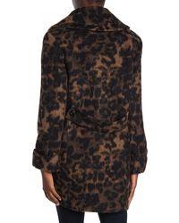 Kensie Leopard Printed Coat - Multicolor