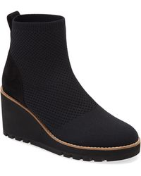 Eileen Fisher Amos Knit Wedge Bootie - Black