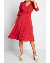 ModCloth Mc X Collectif Sudden Serenity Midi Wrap Dress - Red