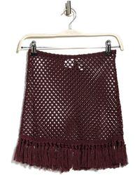 The Bikini Lab Crochet Tassel Hem Cover Up Skirt - Brown