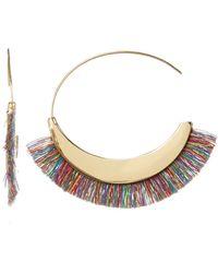 Rebecca Minkoff - Thread Fringe Large 58mm Hoop Earrings - Lyst
