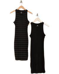 Laundry by Shelli Segal High Neck Racerback Midi Dress - Black