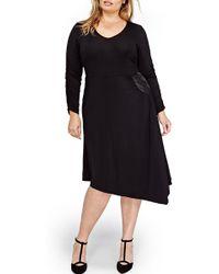 Michel Studio V-neck Asymmetrical Dress (plus Size) - Black