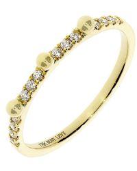 Bony Levy 18k Yellow Gold Beaded Diamond Accent Stackable Ring - 0.12 Ctw - Metallic