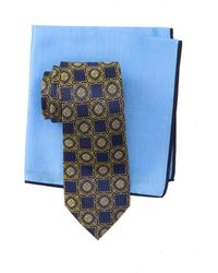 Ted Baker Silk Connect Medallion Tie & Pocket Square Set - Yellow
