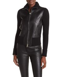 Theory - Bonded Leather & Ribbed Knit Jacket - Lyst