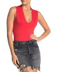 Lush Deep V-neck Bodysuit - Red