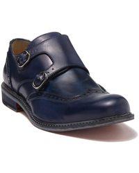 Bugatchi Wingtip Leather Monk Strap Loafer - Blue