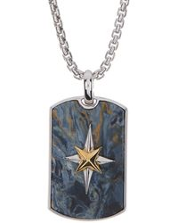 Effy Sterling Silver & 18k Yellow Gold Star Detail Rectangle Pendant Necklace In Blue At Nordstrom Rack