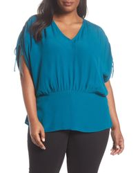 Sejour - Cinched Sleeve Tunic (plus Size) - Lyst