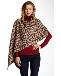 Portolano Animal Print Wool & Cashmere Blend Poncho - Brown