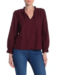 Madewell Embroidered Eyelet Ruffled Popover Top