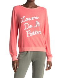 Wildfox Lovers Do It Better Graphic Pullover - Pink
