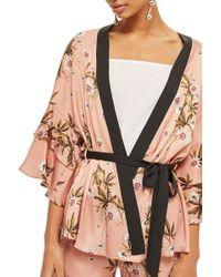 TOPSHOP - Penel Frill Floral Kimono - Lyst