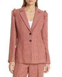 Robert Rodriguez Chelsea Linen-blend Hopsack Two-button Blazer - Pink