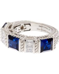 Judith Ripka - Sterling Silver Blue & White Cz Ring - Lyst