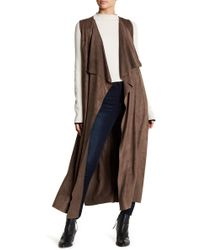 On The Road Bird Faux Suede Draped Long Vest