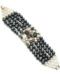 Carolee Multi-row Pearl & Rhinestone Cluster Bracelet - Metallic