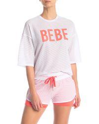 Bebe - Short Sleeve Crop Honeycomb T-shirt - Lyst