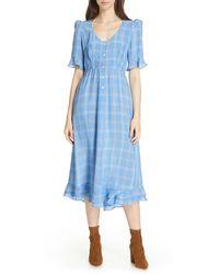 Smythe Frontier Plaid Midi Dress - Blue