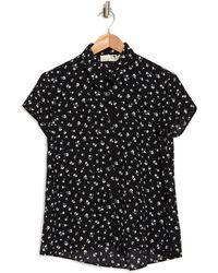 Everleigh Short Sleeve Collared Blouse - Black