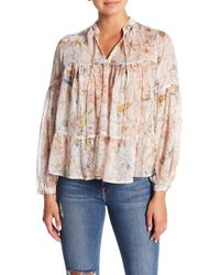 b755d8546c834 Lucky Brand - Floral Printed Peasant Top - Lyst