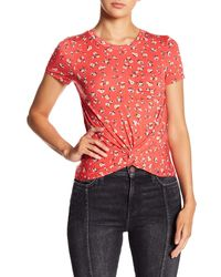 Love, Fire Twist Front Top - Red