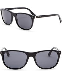 Prada 57mm Rectangle Sunglasses - Black