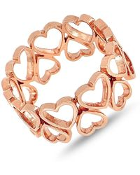 Bony Levy - 14k Rose Gold Open Hearts Wide Ring - Lyst