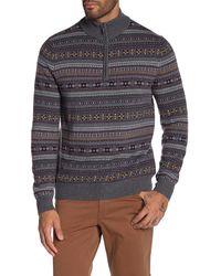 Brooks Brothers Fair Isle Wool Blend Half Zip Pullover - Gray