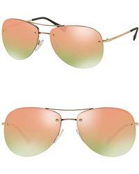 Prada - 59mm Aviator Sunglasses - Lyst