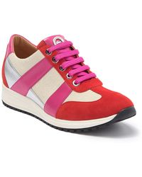 Longchamp Surf & The City Suede & Canvas Sneaker - Pink