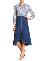 Insight - Frayed Trim Denim Midi Skirt - Lyst
