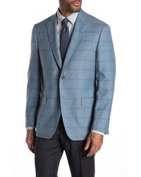 Hart Schaffner Marx Light Blue Check Two Button Notch Lapel Wool Blend Suit Separates Jacket